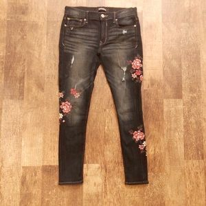 Express Skinny Flower Embroidered Jeans